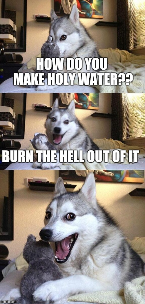 Bad Pun Dog |  HOW DO YOU MAKE HOLY WATER?? BURN THE HELL OUT OF IT | image tagged in memes,bad pun dog | made w/ Imgflip meme maker