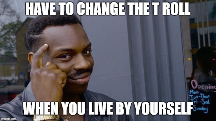 Roll Safe Think About It Meme | HAVE TO CHANGE THE T ROLL WHEN YOU LIVE BY YOURSELF | image tagged in memes,roll safe think about it | made w/ Imgflip meme maker
