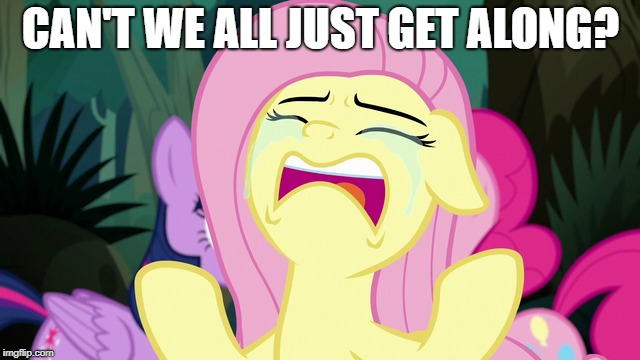 CAN'T WE ALL JUST GET ALONG? | image tagged in mlp,hey internet,fluttershy | made w/ Imgflip meme maker