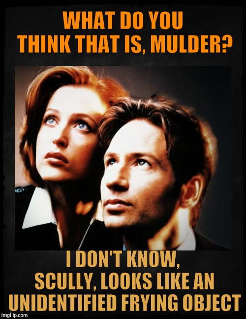 Mulder and Scully gaze to whatever,,, | WHAT DO YOU THINK THAT IS, MULDER? I DON'T KNOW, SCULLY, LOOKS LIKE AN UNIDENTIFIED FRYING OBJECT | image tagged in mulder and scully gaze to whatever | made w/ Imgflip meme maker