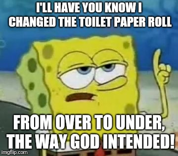 You're welcome. OCD POWER!!! | I'LL HAVE YOU KNOW I CHANGED THE TOILET PAPER ROLL FROM OVER TO UNDER, THE WAY GOD INTENDED! | image tagged in memes,ill have you know spongebob,toilet paper,ocd | made w/ Imgflip meme maker