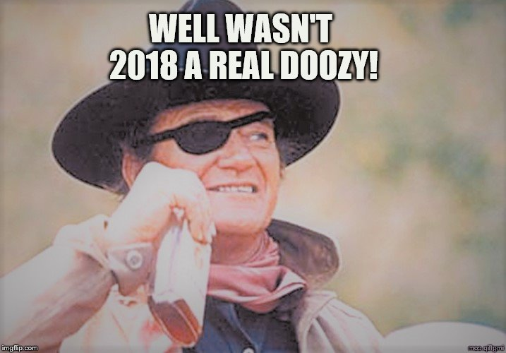 John Wayne | WELL WASN'T 2018 A REAL DOOZY! | image tagged in john wayne | made w/ Imgflip meme maker