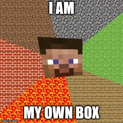 Minecraft Steve | I AM MY OWN BOX | image tagged in minecraft steve | made w/ Imgflip meme maker