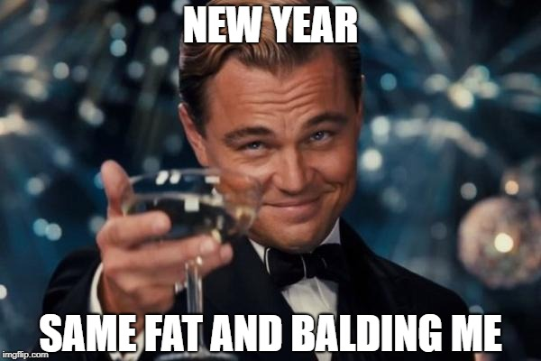 Leonardo Dicaprio Cheers Meme | NEW YEAR SAME FAT AND BALDING ME | image tagged in memes,leonardo dicaprio cheers | made w/ Imgflip meme maker