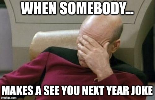 Captain Picard Facepalm Meme | WHEN SOMEBODY... MAKES A SEE YOU NEXT YEAR JOKE | image tagged in memes,captain picard facepalm | made w/ Imgflip meme maker
