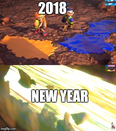 2018 NEW YEAR | image tagged in inklings,splatoon,happy new year,memes | made w/ Imgflip meme maker