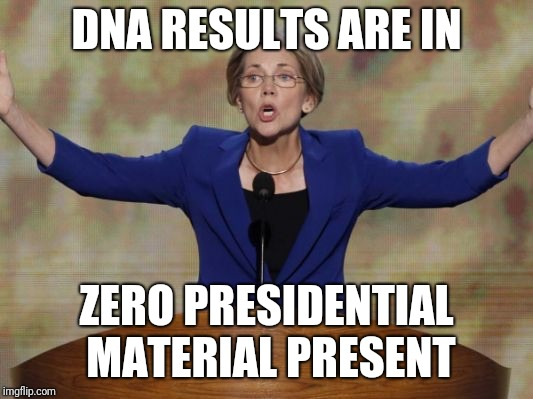 DNA results | DNA RESULTS ARE IN ZERO PRESIDENTIAL MATERIAL PRESENT | image tagged in elizabeth warren,dna,indian,pocahontas,hiawatha | made w/ Imgflip meme maker