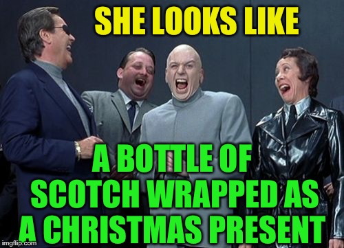 Laughing Villains Meme | SHE LOOKS LIKE A BOTTLE OF SCOTCH WRAPPED AS A CHRISTMAS PRESENT | image tagged in memes,laughing villains | made w/ Imgflip meme maker