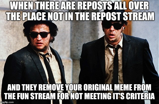 If you're gonna start actually policing the posts on the site that's fine. Just make sure you police all the posts... | WHEN THERE ARE REPOSTS ALL OVER THE PLACE NOT IN THE REPOST STREAM AND THEY REMOVE YOUR ORIGINAL MEME FROM THE FUN STREAM FOR NOT MEETING IT | image tagged in blues brothers wtf,imgflip mods,police academy | made w/ Imgflip meme maker