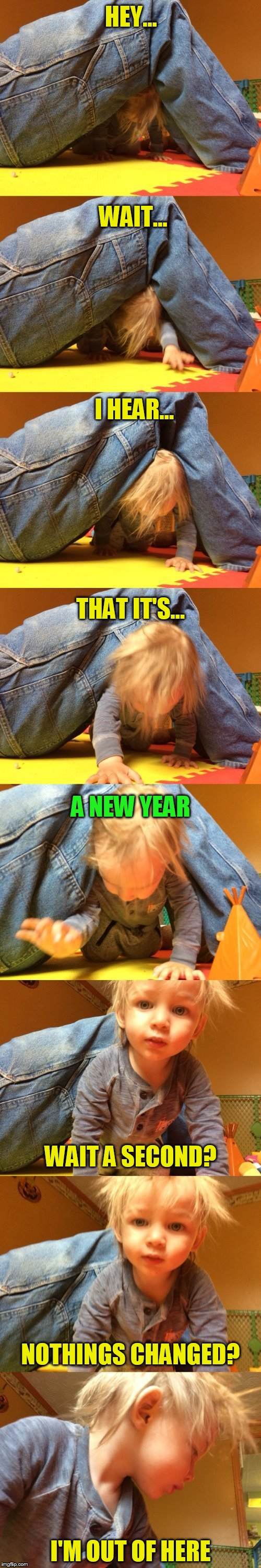 New Years Realizations (Happy New Year) | HEY... I'M OUT OF HERE WAIT... I HEAR... THAT IT'S... A NEW YEAR WAIT A SECOND? NOTHINGS CHANGED? | image tagged in memes,happy new year,new year,sudden realization,mini dash,happy memeing | made w/ Imgflip meme maker