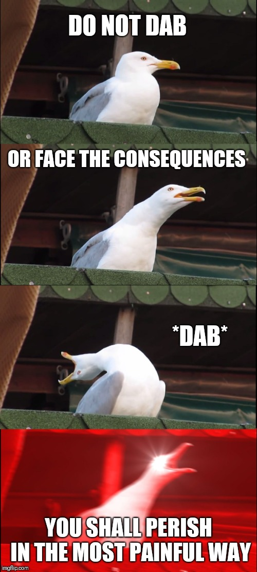 Inhaling Seagull Meme | DO NOT DAB OR FACE THE CONSEQUENCES *DAB* YOU SHALL PERISH IN THE MOST PAINFUL WAY | image tagged in memes,inhaling seagull | made w/ Imgflip meme maker