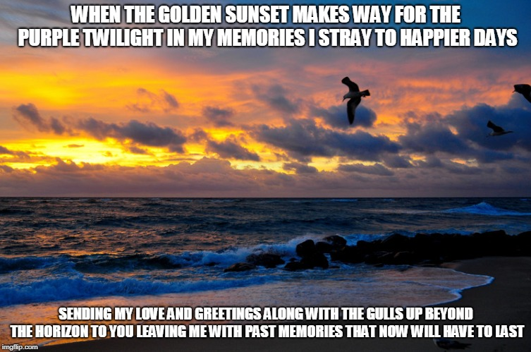 Golden Sunsets | WHEN THE GOLDEN SUNSET MAKES WAY FOR THE PURPLE TWILIGHT IN MY MEMORIES I STRAY TO HAPPIER DAYS SENDING MY LOVE AND GREETINGS ALONG WITH THE | image tagged in golden suensets,sunsets,love,seagulls,memories | made w/ Imgflip meme maker