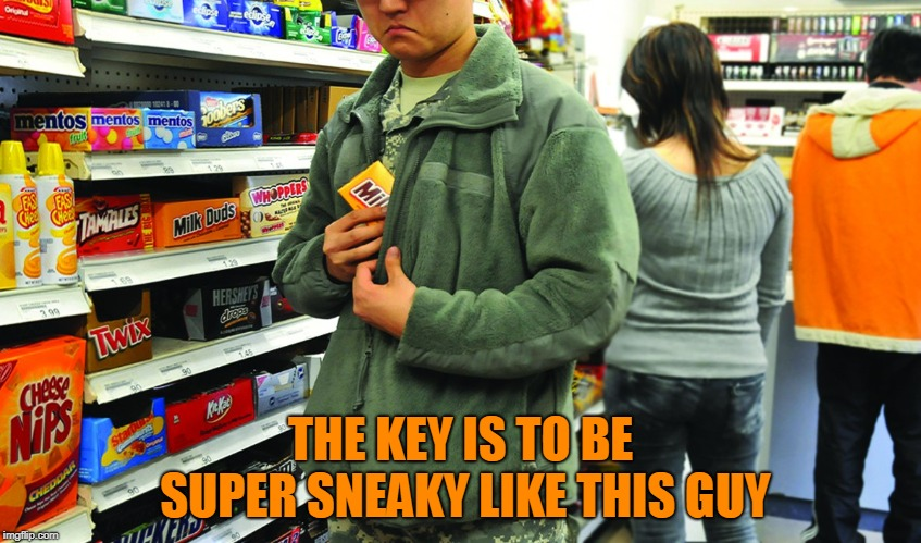 shoplifting | THE KEY IS TO BE SUPER SNEAKY LIKE THIS GUY | image tagged in shoplifting | made w/ Imgflip meme maker