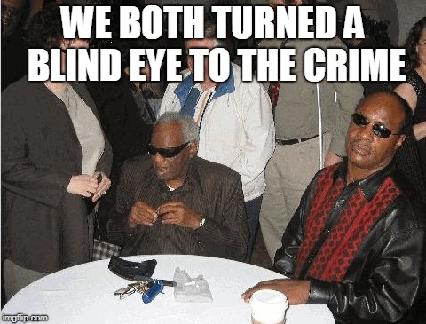 Ray Charles and Stevie Wonder | WE BOTH TURNED A BLIND EYE TO THE CRIME | image tagged in ray charles and stevie wonder | made w/ Imgflip meme maker