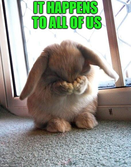 embarrassed bunny | IT HAPPENS TO ALL OF US | image tagged in embarrassed bunny | made w/ Imgflip meme maker