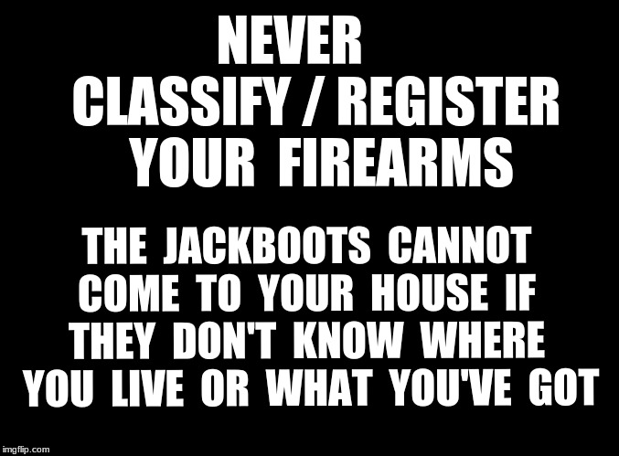 Leave my guns alone  | NEVER     CLASSIFY / REGISTER  YOUR  FIREARMS THE  JACKBOOTS  CANNOT COME  TO  YOUR  HOUSE  IF  THEY  DON'T  KNOW  WHERE  YOU  LIVE  OR  WHA | image tagged in firearms,classify,register | made w/ Imgflip meme maker