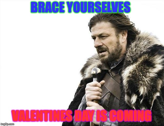 Brace Yourselves X is Coming | BRACE YOURSELVES VALENTINES DAY IS COMING | image tagged in memes,brace yourselves x is coming | made w/ Imgflip meme maker