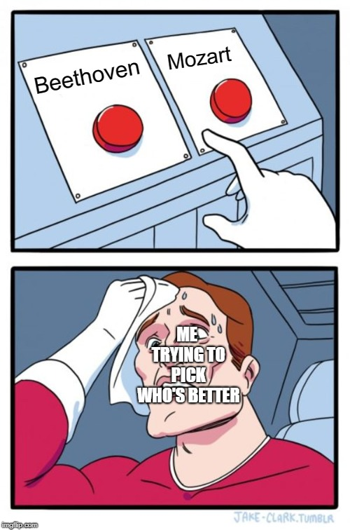 Two Buttons Meme | Beethoven Mozart ME TRYING TO PICK WHO'S BETTER | image tagged in memes,two buttons | made w/ Imgflip meme maker