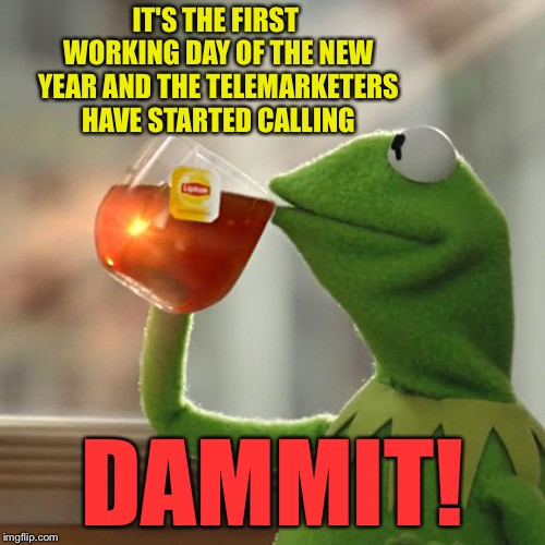 As I'm sitting here memeing away. |  IT'S THE FIRST WORKING DAY OF THE NEW YEAR AND THE TELEMARKETERS HAVE STARTED CALLING; DAMMIT! | image tagged in memes,but thats none of my business,kermit the frog,telemarketer,funny | made w/ Imgflip meme maker