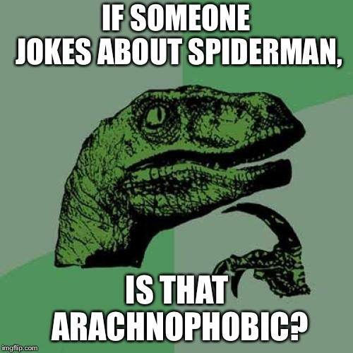 Spiders can get offended too | IF SOMEONE JOKES ABOUT SPIDERMAN, IS THAT ARACHNOPHOBIC? | image tagged in memes,philosoraptor,phobia,spiderman,joke,humor | made w/ Imgflip meme maker