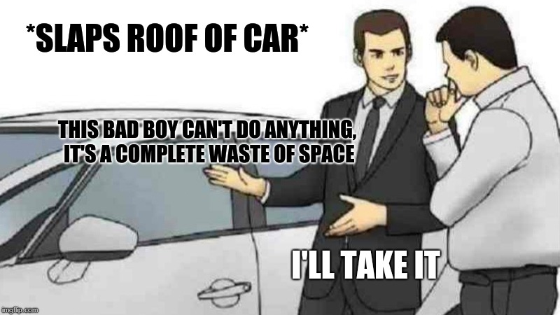 A car, what more can you ask for... | *SLAPS ROOF OF CAR* THIS BAD BOY CAN'T DO ANYTHING, IT'S A COMPLETE WASTE OF SPACE I'LL TAKE IT | image tagged in memes,car salesman slaps roof of car,useless | made w/ Imgflip meme maker