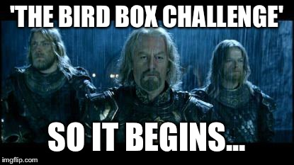 Bird Box Challege |  'THE BIRD BOX CHALLENGE'; SO IT BEGINS... | image tagged in so it begins,bird box,challenge,lotr | made w/ Imgflip meme maker