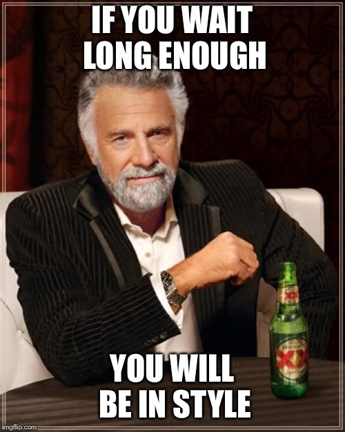 The Most Interesting Man In The World Meme | IF YOU WAIT LONG ENOUGH YOU WILL BE IN STYLE | image tagged in memes,the most interesting man in the world | made w/ Imgflip meme maker