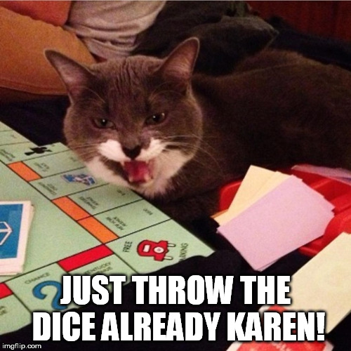 Monopoly cat | JUST THROW THE DICE ALREADY KAREN! | image tagged in monopoly,board games | made w/ Imgflip meme maker