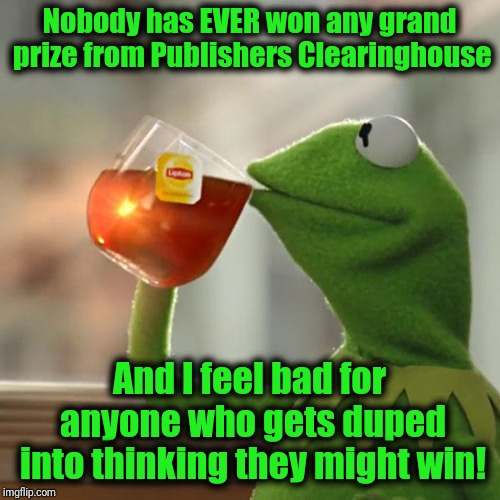 Seriously, who among us can actually say that we've won that BOGUS money?? | Nobody has EVER won any grand prize from Publishers Clearinghouse And I feel bad for anyone who gets duped into thinking they might win! | image tagged in memes,but thats none of my business,kermit the frog | made w/ Imgflip meme maker