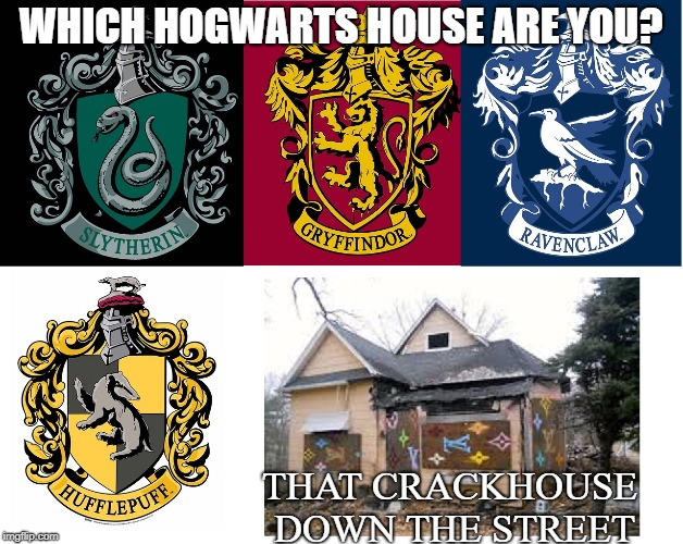 you're a crackhead, Harry | WHICH HOGWARTS HOUSE ARE YOU? THAT CRACKHOUSE DOWN THE STREET | image tagged in harry potter,harry potter meme,hogwarts,dank memes,memes | made w/ Imgflip meme maker