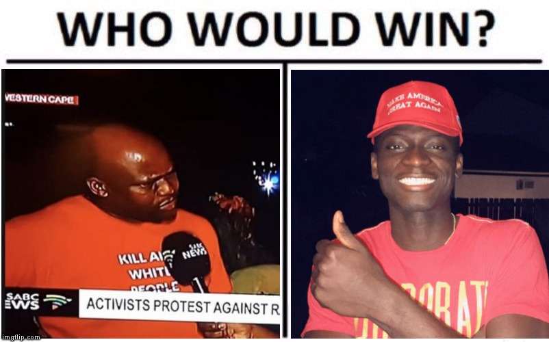 Still offended by MAGA hats? | image tagged in memes,south africa,racism,farm murders,white genocide,eugenior joseph | made w/ Imgflip meme maker