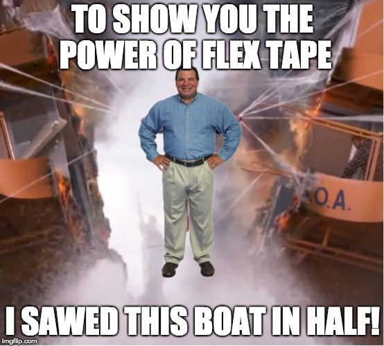 TO SHOW YOU THE POWER OF FLEX TAPE I SAWED THIS BOAT IN HALF! | image tagged in phil swift,spiderman | made w/ Imgflip meme maker