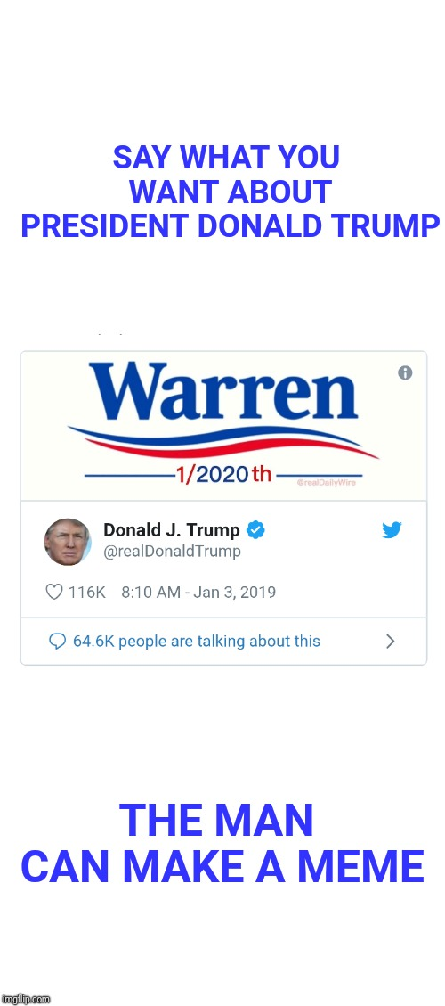 Trump savagely trolls Elizabeth Warren. | SAY WHAT YOU WANT ABOUT PRESIDENT DONALD TRUMP THE MAN CAN MAKE A MEME | image tagged in elizabeth warren,warren,meme,trump,election 2020,trump 2020 | made w/ Imgflip meme maker