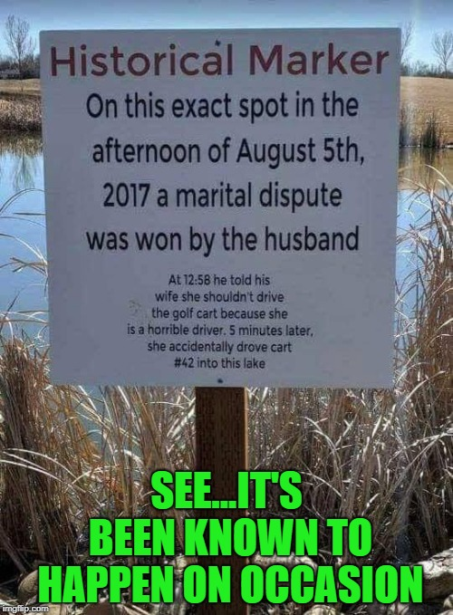 Proof that it happens once in awhile!!! | SEE...IT'S BEEN KNOWN TO HAPPEN ON OCCASION | image tagged in historical marker,memes,husband won,funny,golf,history | made w/ Imgflip meme maker