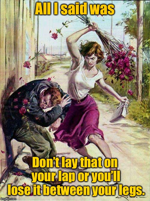 Open something - Insert something  | All I said was Don't lay that on your lap or you'll lose it between your legs. | image tagged in woman beating bouquet,bad humor,mouthy man,bouquet | made w/ Imgflip meme maker