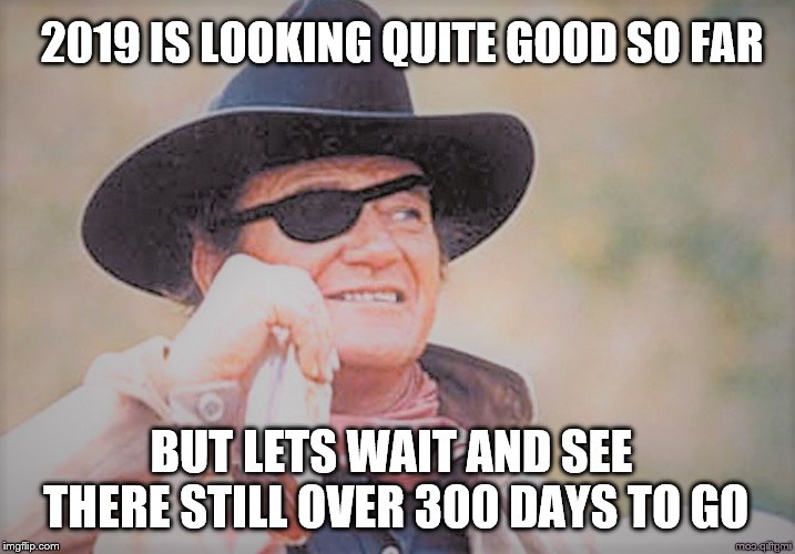 John Wayne | 2019 IS LOOKING QUITE GOOD SO FAR BUT LETS WAIT AND SEE THERE STILL OVER 300 DAYS TO GO | image tagged in john wayne | made w/ Imgflip meme maker