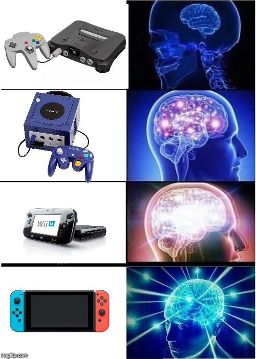Nintendo Consoles | image tagged in memes,expanding brain,n64,gcn,wii u,switch | made w/ Imgflip meme maker