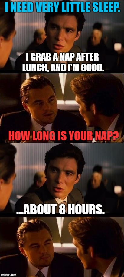 Happy New YEAR!! | I NEED VERY LITTLE SLEEP. HOW LONG IS YOUR NAP? ...ABOUT 8 HOURS. I GRAB A NAP AFTER LUNCH, AND I'M GOOD. | image tagged in inception,funny memes,memes,first world problems,funny,leonardo inception extended | made w/ Imgflip meme maker