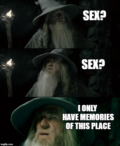 Confused Gandalf Meme | SEX? SEX? I ONLY HAVE MEMORIES OF THIS PLACE | image tagged in memes,confused gandalf | made w/ Imgflip meme maker