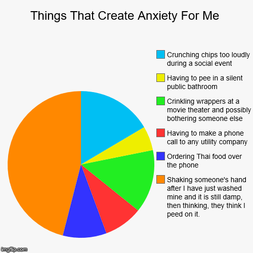Things That Create Anxiety For Me | Shaking someone's hand after I have just washed mine and it is still damp, then thinking, they think I p | image tagged in funny,pie charts | made w/ Imgflip pie chart maker