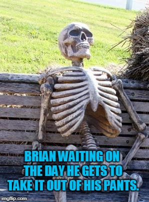 Waiting Skeleton Meme | BRIAN WAITING ON THE DAY HE GETS TO TAKE IT OUT OF HIS PANTS. | image tagged in memes,waiting skeleton | made w/ Imgflip meme maker