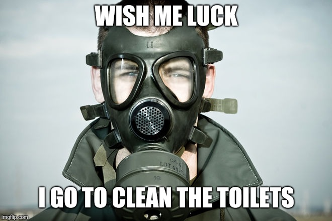 WISH ME LUCK I GO TO CLEAN THE TOILETS | image tagged in gas mask | made w/ Imgflip meme maker