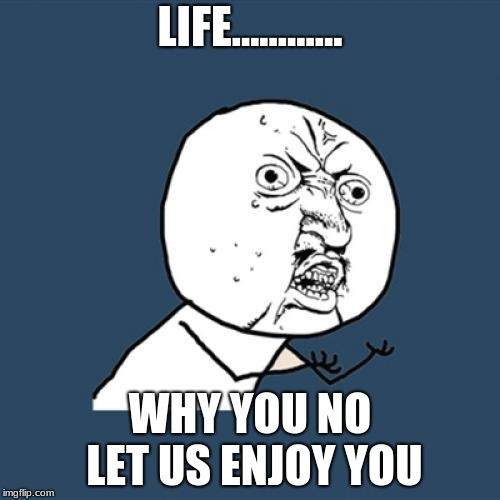 Y U No Meme | LIFE............ WHY YOU NO LET US ENJOY YOU | image tagged in memes,y u no | made w/ Imgflip meme maker