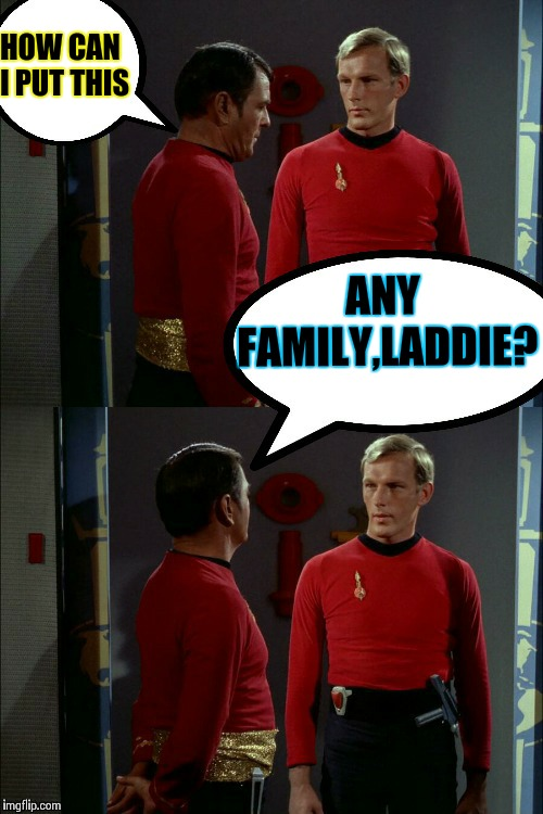 Tactful Scotty | HOW CAN I PUT THIS ANY FAMILY,LADDIE? | image tagged in memes,star trek,scotty,star trek red shirts | made w/ Imgflip meme maker