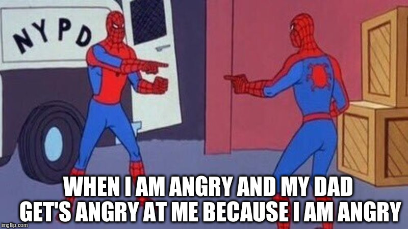 spiderman pointing at spiderman | WHEN I AM ANGRY AND MY DAD GET'S ANGRY AT ME BECAUSE I AM ANGRY | image tagged in spiderman pointing at spiderman | made w/ Imgflip meme maker