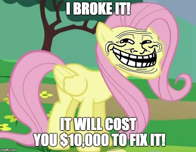 Fluttertroll | I BROKE IT! IT WILL COST YOU $10,000 TO FIX IT! | image tagged in fluttertroll | made w/ Imgflip meme maker