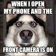 Opening the front view cam | WHEN I OPEN MY PHONE AND THE FRONT CAMERA IS ON | image tagged in camera,ugly,funny memes,memes,funny | made w/ Imgflip meme maker