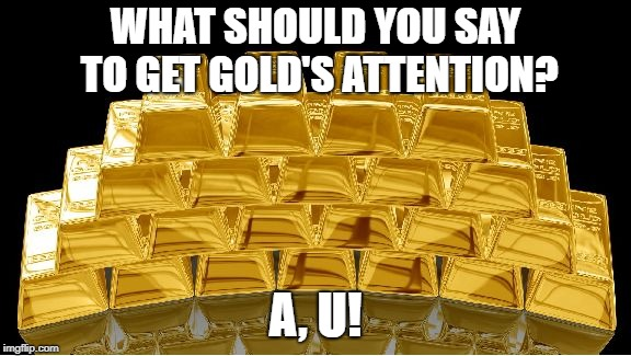gold | WHAT SHOULD YOU SAY TO GET GOLD'S ATTENTION? A, U! | image tagged in gold | made w/ Imgflip meme maker