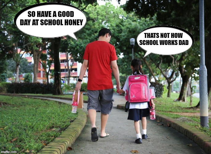 from the mouths of babes  | SO HAVE A GOOD DAY AT SCHOOL HONEY THATS NOT HOW SCHOOL WORKS DAD | image tagged in school,dad,kid | made w/ Imgflip meme maker