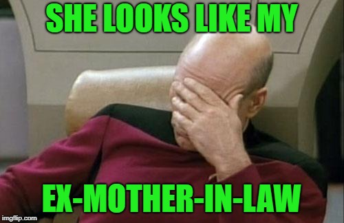 Captain Picard Facepalm Meme | SHE LOOKS LIKE MY EX-MOTHER-IN-LAW | image tagged in memes,captain picard facepalm | made w/ Imgflip meme maker